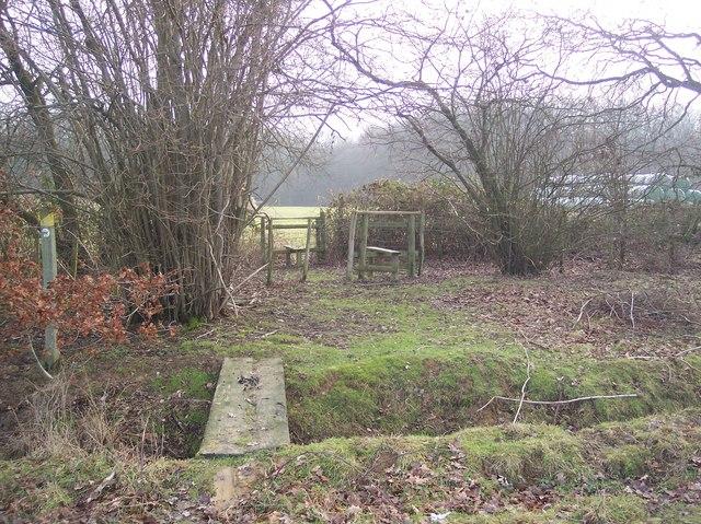 Footbridge and two stiles near Lamberden Wood
