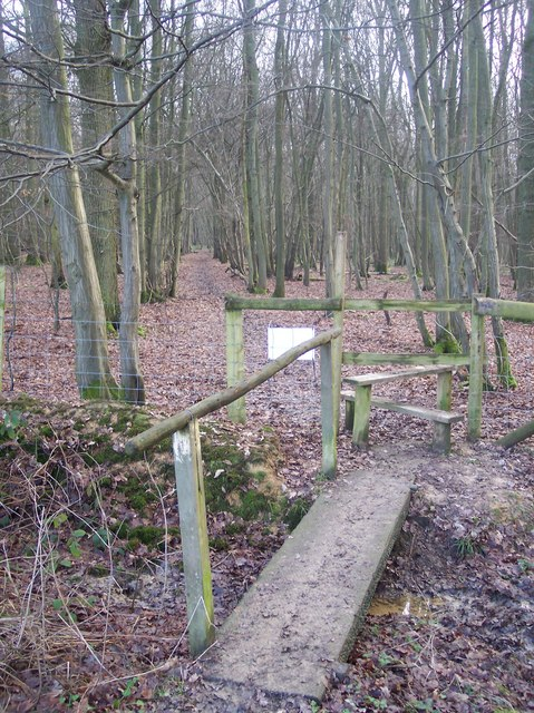 Footbridge and stile into Lamberden Wood