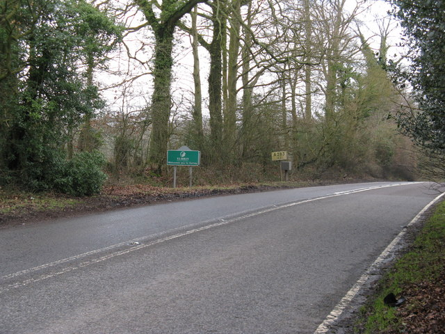 Surrey County border sign on the A 283 at Cripplecrutch Hill