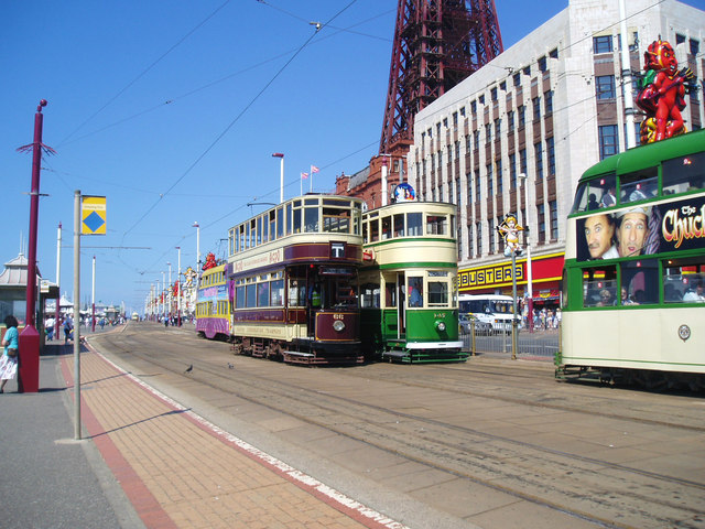 Trams near Blackpool Tower