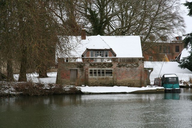 Boathouse in the snow