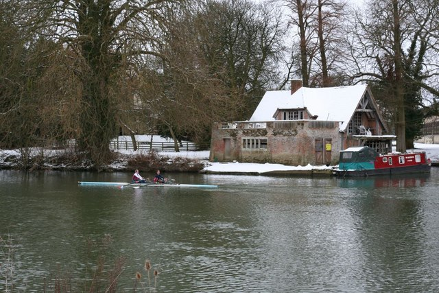 Rowing past the boathouse