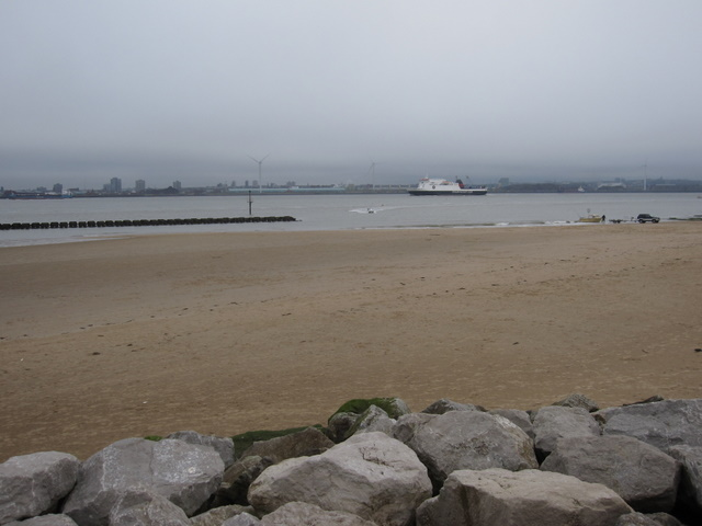 View across New Brighton beach on a grey day