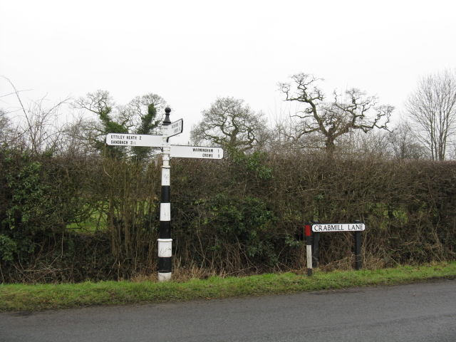 Signpost At The Junction Of Crabmill Lane & Green Lane
