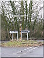 SJ7162 : Contrasting Signpost Styles, Dragon's Lane Crossroads by Peter Whatley
