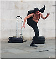TQ3080 : Street entertainer in Trafalgar Square : Week 4