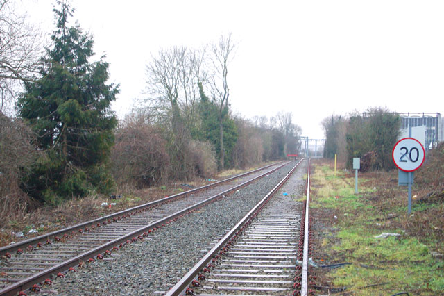 Former Rugby-Leamington railway looking east from level crossing