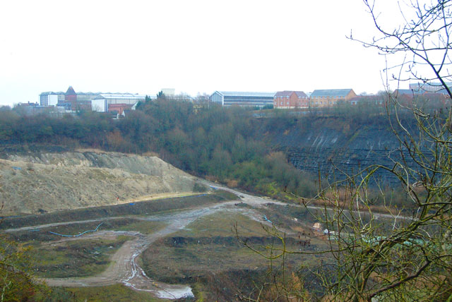Disused quarry at Rugby cement works on a misty day