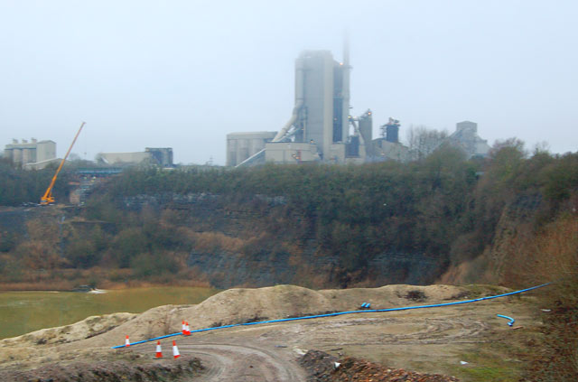 Disused quarry and Rugby cement works on a misty day