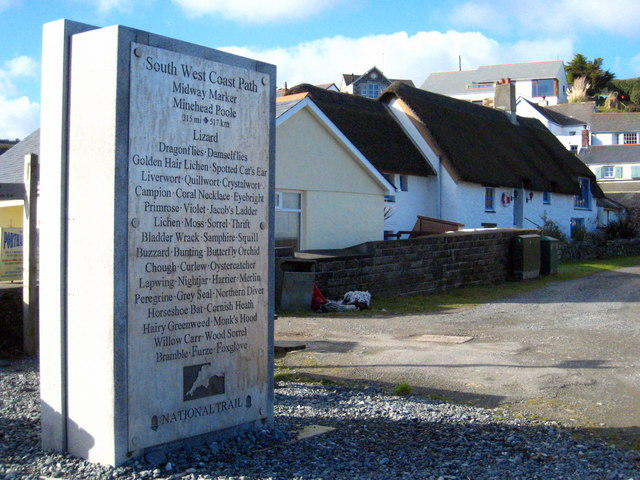 South West Coast Path midway marker at Porthallow