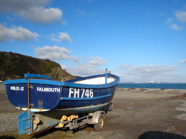 Fishing boat on Porthallow beach