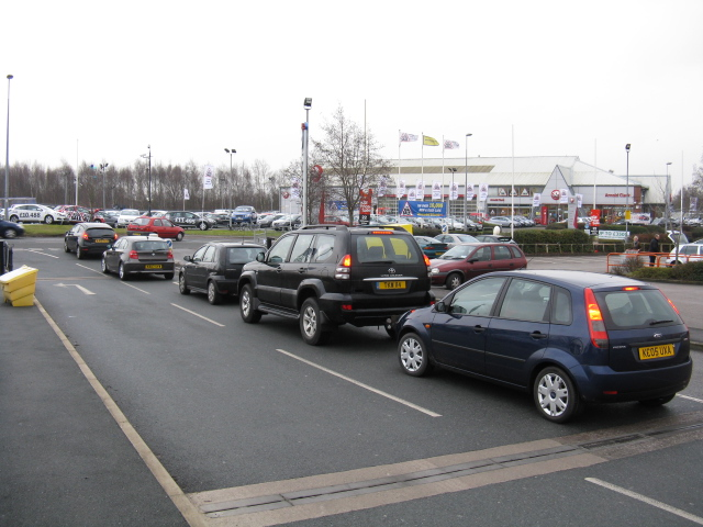 Queuing To Leave Northwich Retail Park