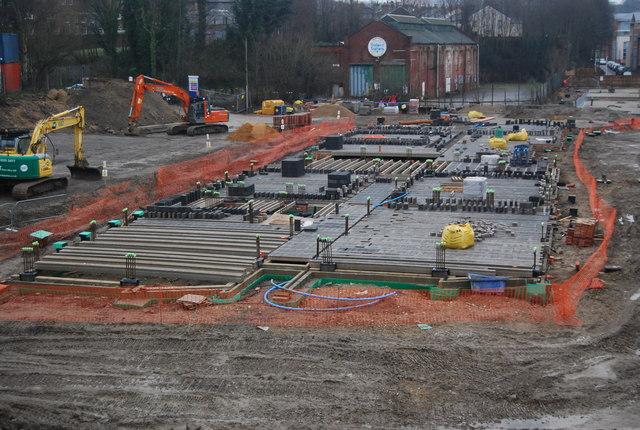 Building site by the Grosvenor Bridge