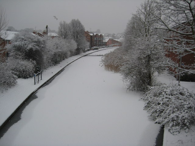 A snowy canal in Worcester