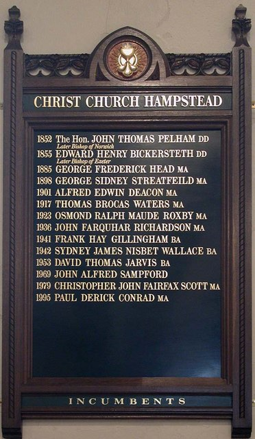 Christ Church, Hampstead Square, London NW3 - Vicars board