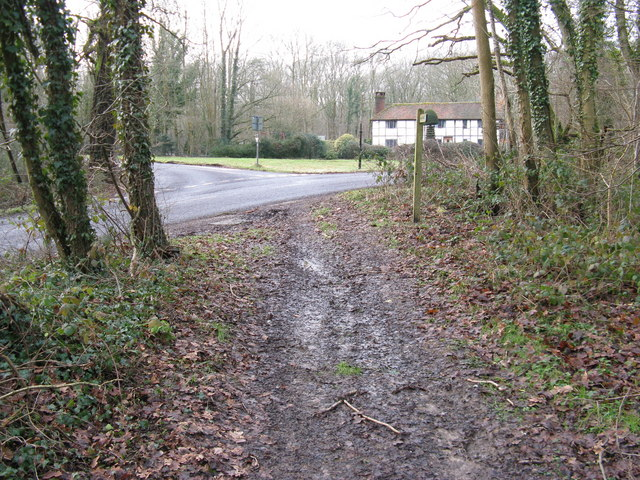 Sussex Border Path junction with road at Gospel Green