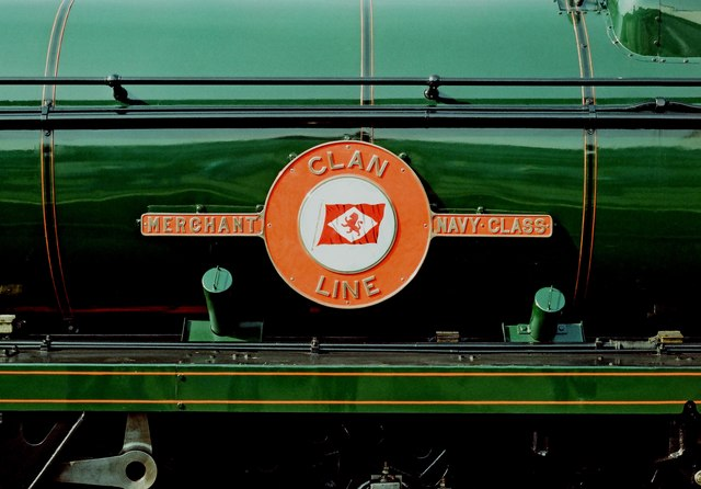 """Network 150 Day -  (03) Merchant Navy Class """"Clan Line"""" loco 35028 name plate"""