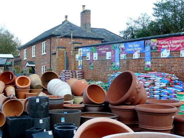 Pot display at Wilton House Garden Centre