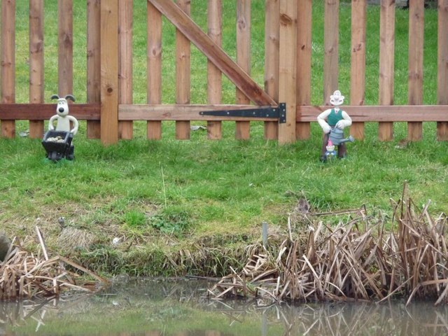 Wallace and Gromit , between the canalside and a back garden fence