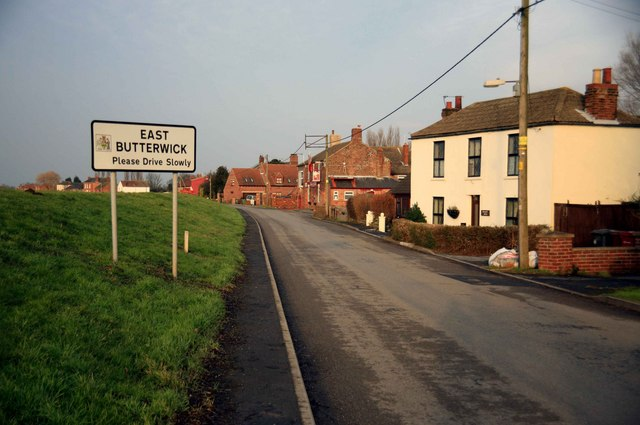 Entering East Butterwick the pub is ahead