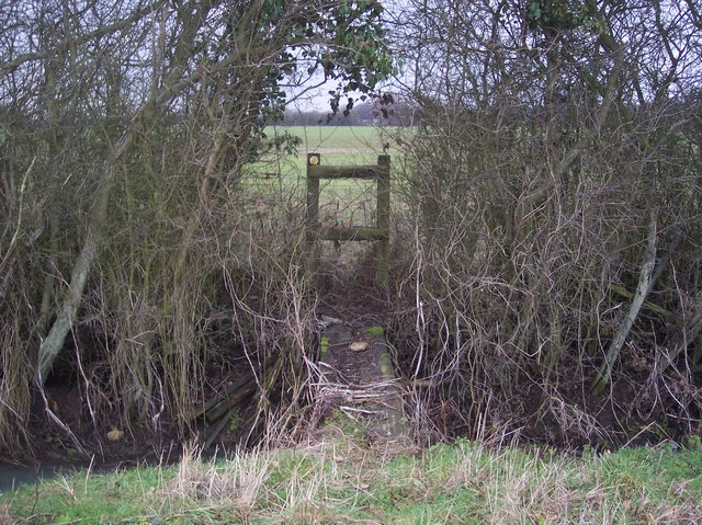 Footbridge and stile on a hedge in a field