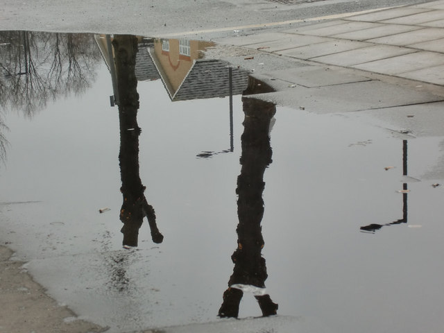 Reflection in puddle at Oakwood Station, London N14