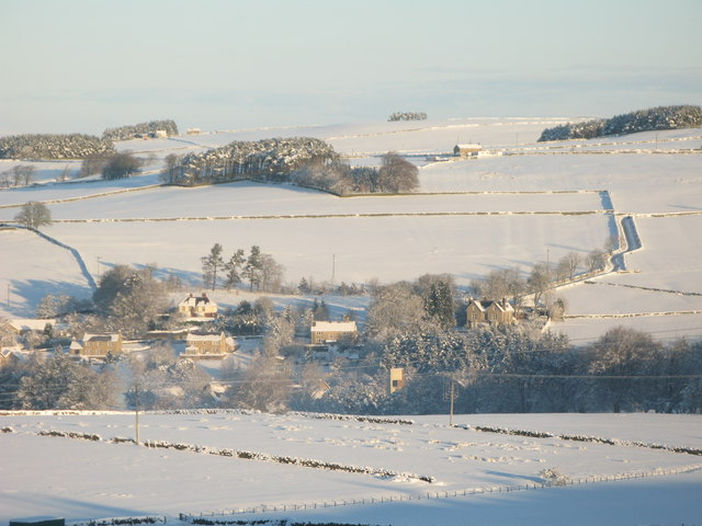 Panorama of snowy East Allen Dale (3 - The Dene and High Hope)