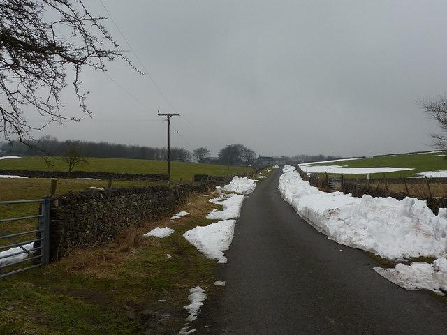 Ploughed-up snow still lies on the lane to Bushy Heath Farm