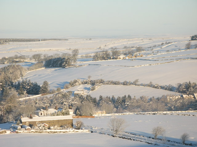 Panorama of snowy East Allen Dale (4 - Lonkley Head and The Hope)