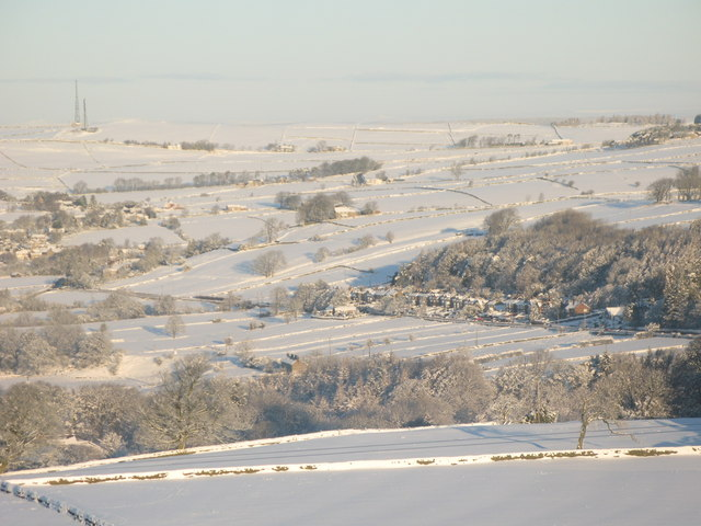 Panorama of snowy East Allen Dale (5 - The Haining)