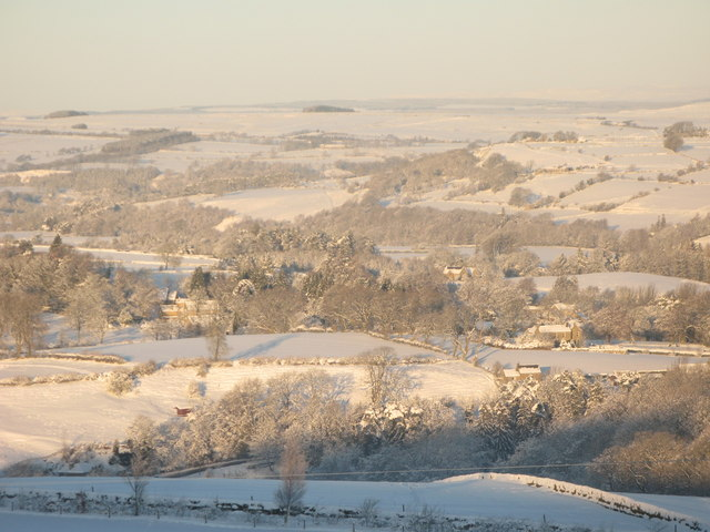 Panorama of snowy East Allen Dale (7 - Thornley Gate and Old Town, Catton)