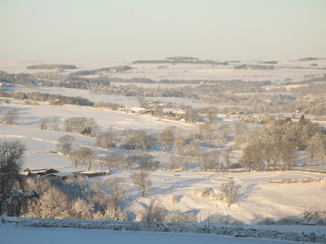 Panorama of snowy East Allen Dale (8 - Low Broadwood Hall and Pia Troon)