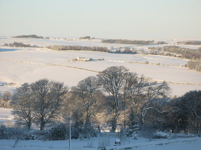 Panorama of snowy East Allen Dale (9 - High Broadwood Hall)