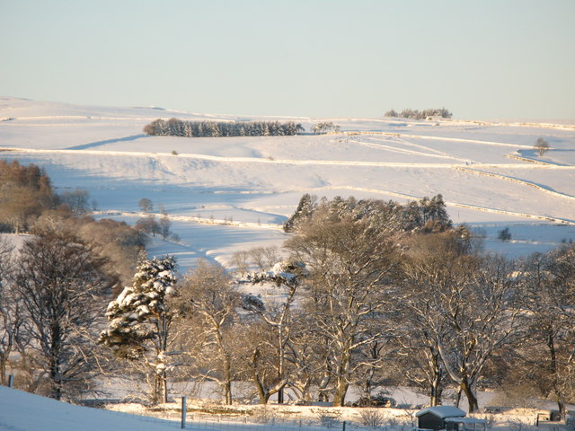 Panorama of snowy East Allen Dale (12 - Fell House)
