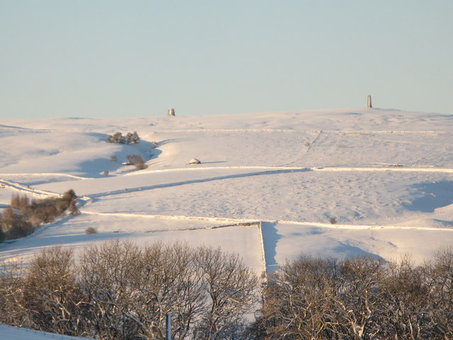 Panorama of snowy East Allen Dale (14 - The lead smelting flue chimneys)