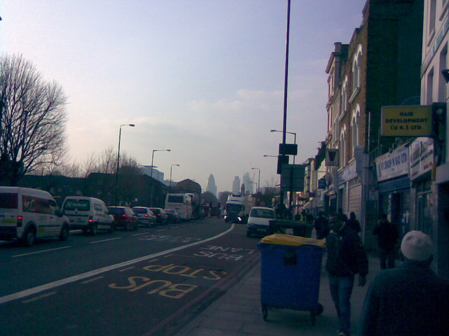 View of the Gherkin from Mile End Road #2