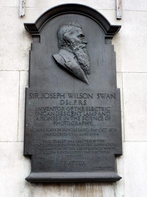 Commemorative plaque to Sir Joseph Swan