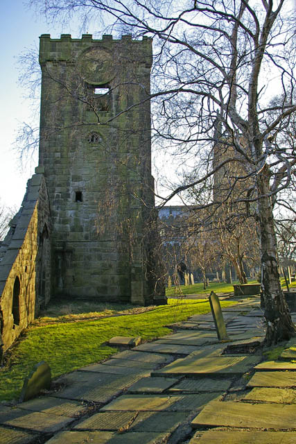Birch trees and tower of old church, Heptonstall churchyard