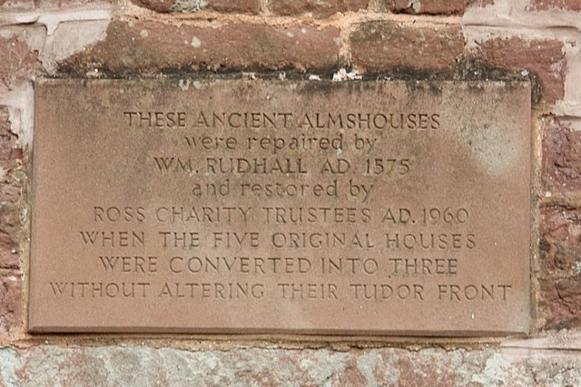 Rudhall almshouses plaque
