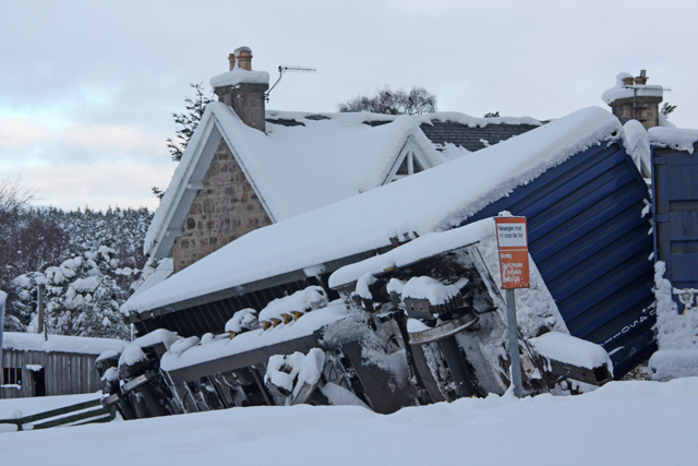 Derailed goods wagon at Carrbridge