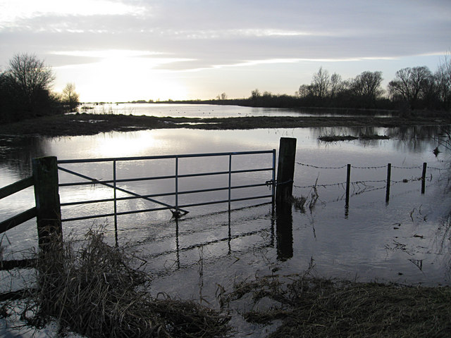 Flooded gateway on the Hundred Foot Washes
