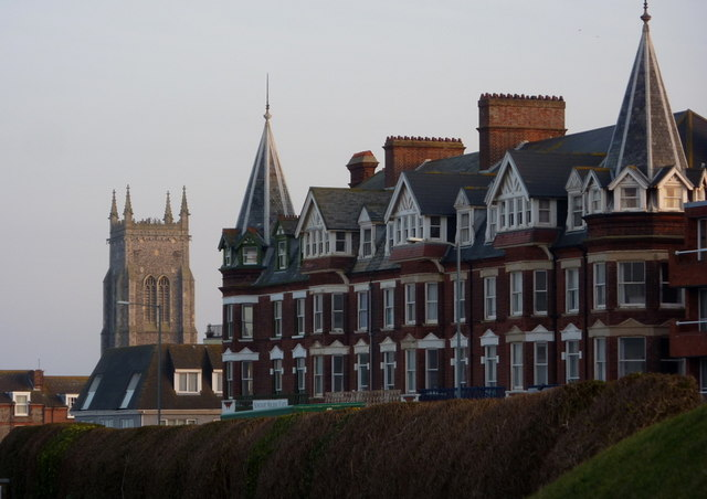 Hotel and church tower, Cromer