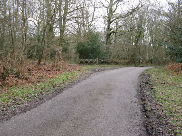 Bridleway leaving metalled road