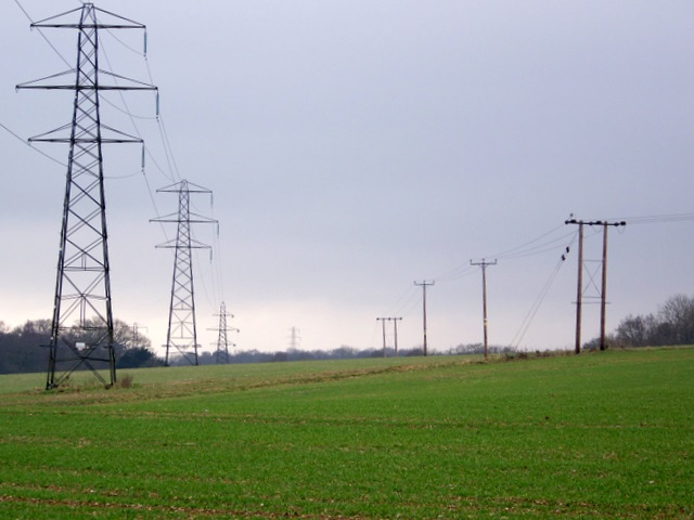 Pylons across the landscape near Pittleworth