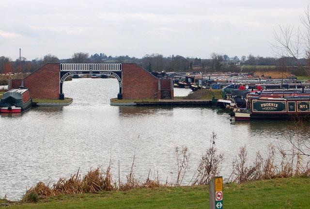 Brick and cast-iron bridge in the Calcutt Boats marina