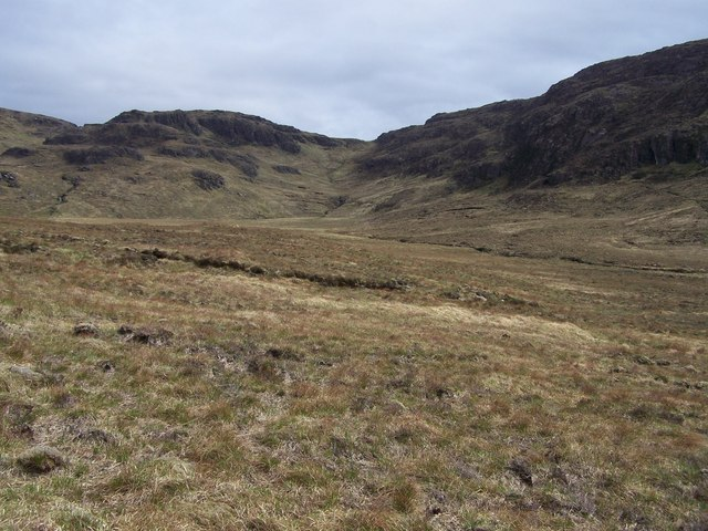 Natural peat bank on the moorland hillside approach to Bealach Coire a' Chuidhe.