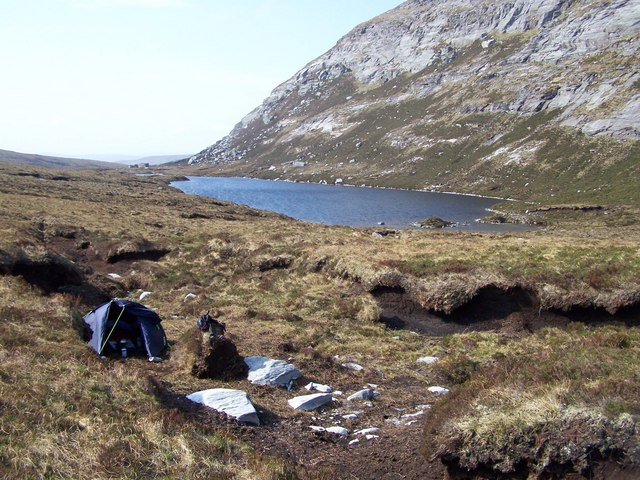 Camp site in the peat hags at N end of Loch a' Choire Leacaich, E of Ben Hee