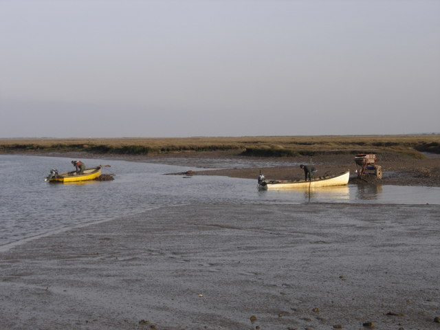 Unloading Mussels  at Brancaster Staithe.