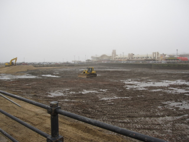 The empty Marine Lake at New Brighton