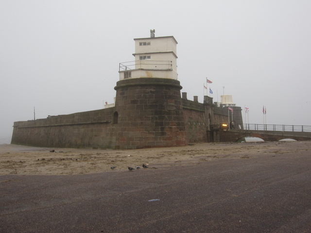 Fort Perch Rock on a foggy day